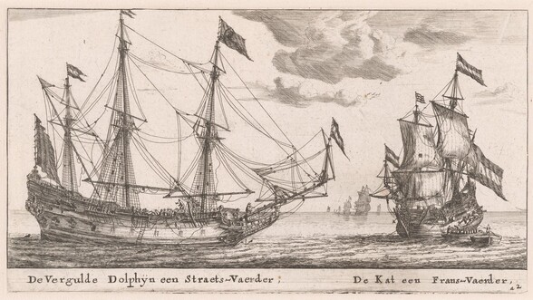The Vergulde Dolphyn, a Large Merchant Vessel, and the Kat, a Flute