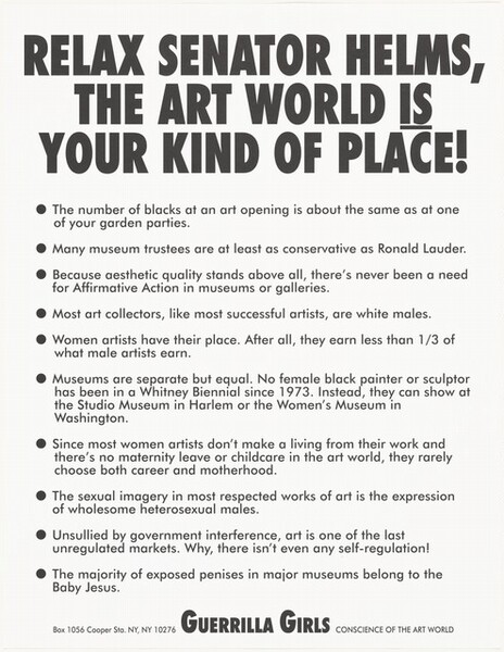 Relax, Senator Helms, The Art World is Your Kind of Place!