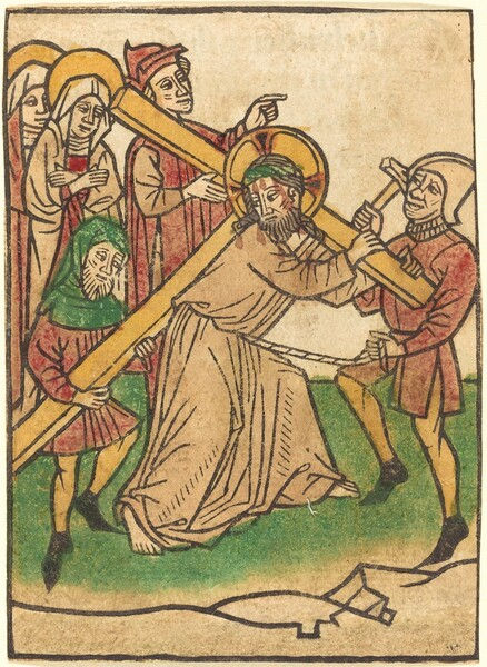 This woodblock print showing a man carrying a T-shaped cross surrounded by five other people is created with thick black outlines, which are colored in with washes of red, tan, green, and yellow. Some unpainted areas of the paper remain white, including the faces and hands of the people. At the center of the composition, the man carrying the cross, Christ, is shown bearded and wearing a long tan robe. He bends over facing our right as he carries the cross across his shoulders and along his back. A green band encircles his head and a yellow halo with three red points surrounds his head. Faint red drops trickle down his face. He looks back to our left towards a person supporting the long end of the cross. That bearded person wears a green cowl over his head and shoulders, a red tunic, yellow stockings, and black shoes. A man wearing a helmet and carrying a hammer pulls a rope tied around Christ's waist. Another man behind Christ to our left wears a red robe and cap, and points to our right. Two haloed women with white cloths covering their heads and red and white garments follow the cross to our left.
