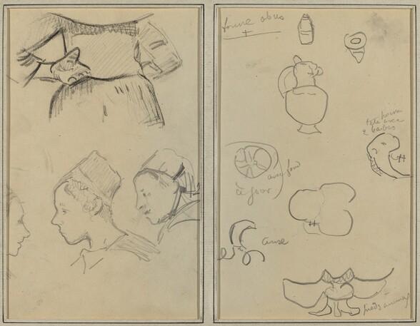 Four Studies of Breton Women; Shapes and Vases [verso]