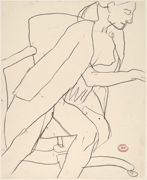 Untitled [seated nude with coat draped over her shoulders]