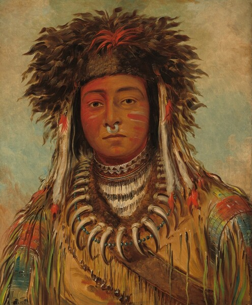Seen from the chest up against a blended pale, sage-green and cream-colored background, a golden-brown skinned boy dressed in Ojibbeway tribal attire faces and looks at us in this vertical portrait painting. The right side of his face, on our left, is painted crimson-red and horizonal stripes of red and white line his opposite cheek. He looks directly at us with clear, sienna-brown eyes under black eyebrows. A silvery white ring hangs from his nose between his nostrils. His upper lip is darker than his skin-colored lower lip, and his mouth is closed. His coffee-brown fur headdress has a cardinal-red patch at the front center. Pearl-white feathers with red tips hang along both sides of his face and down to his shoulders. The sleeves of his tan coat are streaked with sky blue, tomato red, and lemon-lime green, and fringe of the same colors hangs along the arms. Fur lining at the neck follows the curve of a string of curving, bone-colored claws and a glinting string of silvery-gray beads. He also wears a high collar that appears to be beaded with an ivory-white and dark brown geometric pattern. A strap crosses his chest.