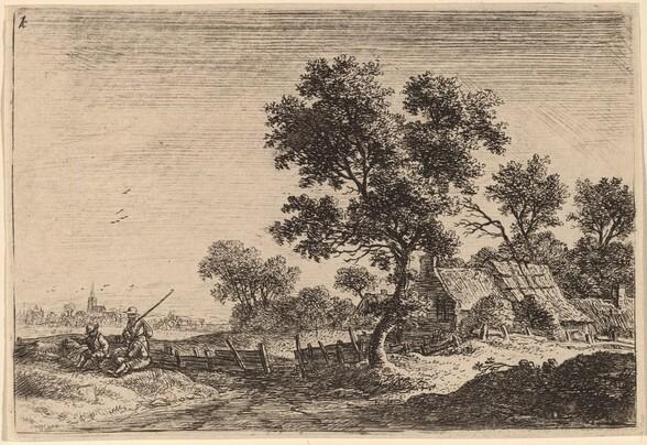 Three Peasants on a Knoll outside a Hamlet