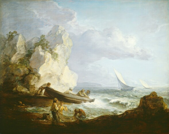 As if on a rock-lined shore, we look on several light-skinned people working by the sea with a boat and a net in this freely painted, almost square seascape. The scene is framed by a silhouette of low boulders along the lower right corner, and a towering cream-white rock rising two-thirds of the way up the composition to our left. Scrubby, celery-green vegetation grows on the rocky outcropping. Near the center, close to the towering white rocks, three people sit, reaching for something near one end of a boat while a fourth person braces against the rock, presumably to push the boat out to the sea. Closer to us, three people on the peanut-brown shore work with a net. Two stand with the net hooked over their shoulders and a third person crouches in the water with head down. The people all wear simple shirts and pants in shades of tan, mustard yellow, burnt orange, and pale blue. All but two wear hats. The sea meets the shore with frothy white foam and cresting, low waves. The sea beyond fades from pale sage to arctic blue along the horizon, which comes about a third of the way up the composition. Two sail boats tilt against the wind in the distance. Pale, smoky lavender-colored clouds drift across the ice-blue sky.