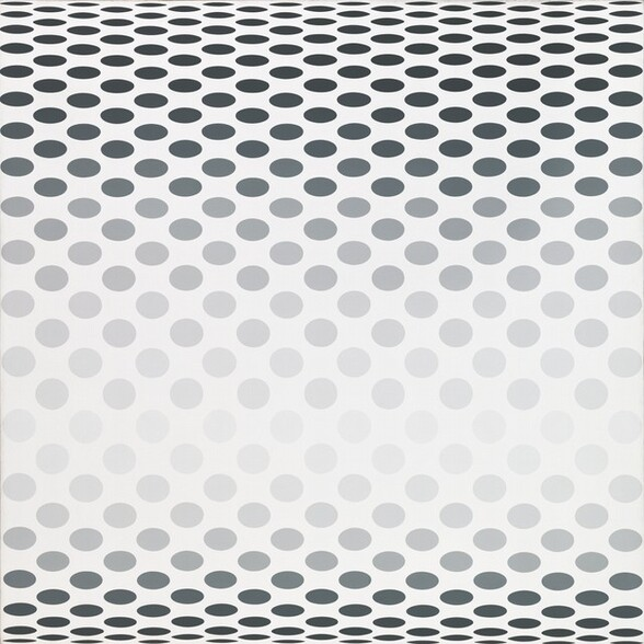 Circles are arranged in offset rows against a white background on this square canvas. Full round circles are pale gray across the center, and the shapes gradually darken as they flatten into ovals that become more elongated as they near the top and bottom edges. This creates the visual impression that the center bulges out at the viewer and curves away at the top and bottom.