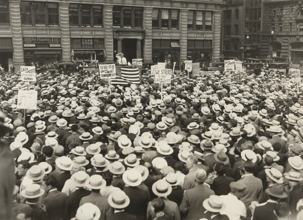 Sacco and Vanzetti's Protest Meeting and One Hour Strike Ends in Riot