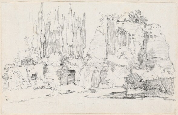 Roman Ruins with a Stand of Cypresses