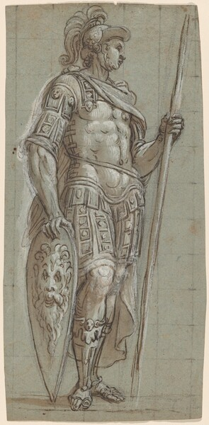 A Soldier in Ancient Roman Costume with Pike and Shield