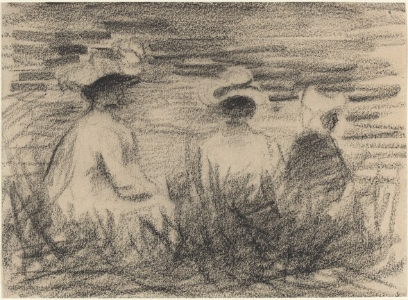 Three Figures Seated in a Meadow, Seen from the Back