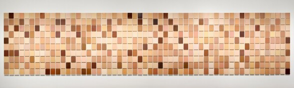 560 panels, each measuring ten by eight inches and painted a unique, flat color, are hung in a grid to create an abstract work of art. The grid has ten horizontal rows of fifty-six panels. The surface of each panel is covered from edge to edge with a single color. The colors range from mahogany to peach, almond white to gingerbread. Some panels are smoothly painted while brushwork is visible on others.