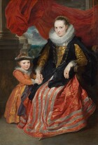 A young girl stands next to and holds the hand of an elegantly dressed woman sitting in a wooden armchair near stone columns, in front of a crimson red curtain pulled up to reveal a distant landscape view in this vertical portrait painting. The child and woman have smooth, light skin and the fabric of their dresses has a silken sheen. To our right, the woman sits with her knees angled slightly to our left and she looks at us with dark blue eyes under faint brows. Her brown hair is pulled back from her high forehead under a hair covering set with pearls. Her pointed chin is slightly pulled back and her pale pink lips are closed. A teardrop-shaped pearl hangs from the ear we can see and she wears two strands of pearls like a choker, above a thick, pleated lace ruff. The fabric of the long-sleeved bodice has a gold-on-gold pattern, and is lined with a row of buttons down the front. Filmy lace cuffs extend back over her forearms from her wrists. Her full, floor-length skirt is crimson red with a gold, brocade-like pattern, and has silvery-gray stripes down the front and around the lower hem. The cloak she wears over the dress has a black-on-black floral pattern. Three thick gold chains hang across her bodice and she wears a square-cut, gray stone set in a gold ring on the fourth finger of her left hand. To our left, the young girl stands next to the wooden arm of the chair and holds the woman's hands with both of hers. The child looks at us with gray eyes and her pale pink lips are parted in a slight smile. Her light brown hair is pulled back under a gray band, perhaps of fur, around her head, over an apricot-colored head covering that matches the color of her dress. The tight-fitting, long-sleeved bodice of her dress is striped with bands of alternating gold and pink geometric designs against the apricot-peach background. A lace-edged collar lies across her shoulders and she wears a pearl necklace and pearl bracelets on one wrist. A thick gold chain falls across her ch