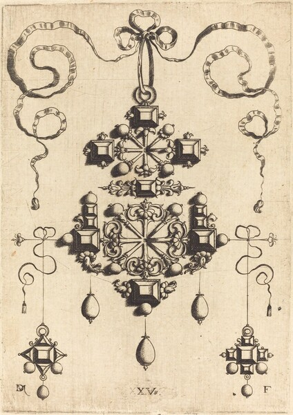 Pendant with Two Double Crosses, Surrounded by Four Diamond-Shaped Stones, Five Table-Stones, and Thirteen Pearls