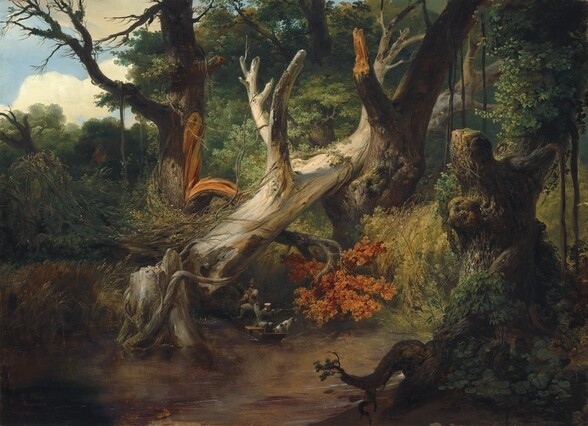 """A leafless, ash-white tree trunk has fallen from a broken stump into the wide V of a neighboring tree at the edge of a body of water in a verdant, leafy forest in this horizontal landscape painting. The fallen trunk creates a diagonal from near the lower left corner to the upper right. As it fell, it sheared off a substantial branch from a neighboring tree with a dark trunk. The bark where the damaged branch has pulled away is honey-orange, the same color as the leaves at the canopy, which has been pinned under the fallen trunk. Trees, vines, and other vegetation fill the space around and beyond these and other trees in the background. Vines grow over a tall, broken stump, deep in shadow, in the lower right corner at the edge of the marsh water, which fills the lower left corner. The peanut-brown surface of the water is smooth with only a few ripples indicated with delicate lines of white paint. Tiny in scale beneath the fallen tree and easily overlooked, there are two men and a dog in a boat. One man stands at the back of the boat and pushes it along with a long pole. He wears a tall, brown, cloth hat, a white shirt rolled up to the elbows under a blue vest, and loose-fitting pants. A second man wears a flat-topped, white hat with a black brim, a long, forest-green jacket, and tight-fitting slate-blue pants. He braces a rifle against one shoulder and shoots into the forest. The dog is white with brown spots, and it stands with its front paws on the edge of the boat, presumably ready to spring after the target. A patch of blue sky with puffy white clouds is seen through a break in the clouds in the upper left corner. The artist signed and dated the work in the lower right corner: """"H. Vernet Rome 1833."""""""