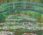 """As if on the water, we look onto a pale turquoise footbridge that arches over a pond lined with tall grasses and filled with petal pink and butter yellow waterlilies in this horizontal landscape painting. In the top third of the composition, the shallowly arched bridge nearly touches the top edge of the canvas, and it extends off each side. The shadows on the bridge are painted with eggplant purple. Bands of waterlilies gently zigzag into the distance on the surface of the water. The spring and kelly green grasses growing along the banks fill the space around and over the pond, and they blend into a screen of trees beyond that enclose the scene. The green of the grasses and trees is reflected in the surface of the water, as is the underside of the bridge. The scene is loosely painted with touches of vibrant color. The artist signed and dated the work with dark paint in the lower right corner: """"Claude Monet 99."""""""