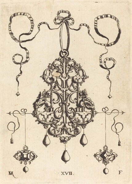 Strapwork Pendant with Two Square Tablestonesas Earrings at Left and Right