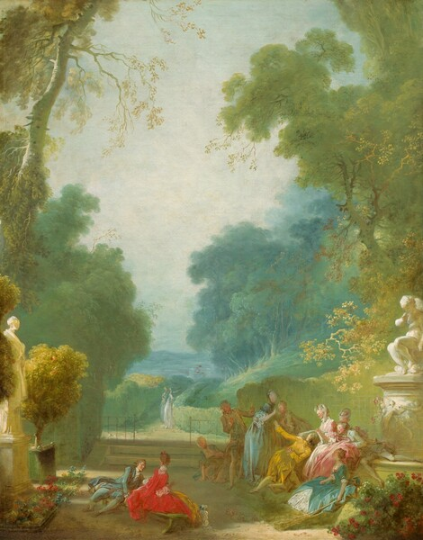 Towering, pale, celery-green trees frame a view of a lush park with about a dozen elegantly dressed, light skinned men and women in this vertical landscape painting. The color palette of the landscape is dominated by moss and lemon-lime greens, golden yellow, and spruce blue. The men all wear jackets with long tails over knee-breeches and their long hair is pulled back at the nape of their necks. The women wear long dresses with full skirts and hints of lace at the sleeves and bust, and their brown or powered white hair is pulled up. Nine of the men and women gather to our right on a stone terrace along the bottom edge of the painting. A man in butter yellow kneels in front of a woman wearing rose pink. Around this pair, people stand, kneel, sit, or recline wearing aquamarine blue, light turquoise, or ivory. A man and woman sit on a bench to our left, a little removed from the larger group. This woman wears ruby red and the man leaning towards her wears topaz blue. Two people in the park beyond these groups are painted with only a few strokes of pale blue and white paint, and they seem to look towards or over a low hedge row lining the walking path. Beds of red flowers fill the lower corners of the composition in front of a statue of a woman to our left and a person, perhaps on a fountain, to our right. The grassy walking path and trees become more blue as they fade into the hazy distance between the tall tress to either side. The sky fades from pale blue along the horizon to a silvery blue, almost white, at the top.