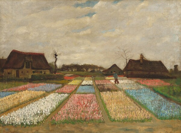 Rectangular plots of flowers, each in a single color, stretch towards us below a sky nearly filled with cream-white clouds in this horizontal landscape painting. Together, the monochromatic plots create the impression of a patchwork quilt, with large areas of pale pink, butter yellow, bright white, and baby blue. A figure walks across the plots to our right. The horizon line comes almost halfway up the painting and is lined with dark brown houses with tall, pitched roofs. Two barren trees twist into the cloudy sky. The loose, short, parallel brushstrokes and touches of paint create a soft, hazy effect.