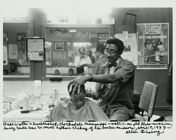 Wade Walton's barbershop, Clarksdale, Mississippi—Walton an old blues musician, Harry Smith came to record rhythmic clicking of his barber scissors, April 19, 1987