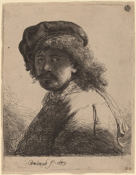 Self-Portrait in a Cap and Scarf with the Face Dark