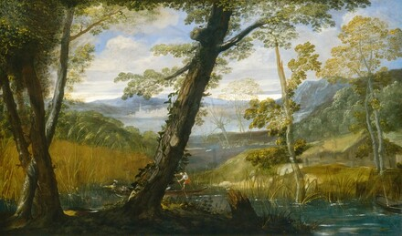 We seem to stand behind some trees on a riverbank looking across an estuary as a river winds into the distance in this horizontal landscape painting. Close to us, a cluster of three thin trees and a larger central tree are deep in shadow, which contrasts with the light-filled scene beyond. The topaz-blue river curves from the lower right corner, across the canvas, and into the distance at the center. A few spindly trees grow along the riverbank in front of a hut with a thatched roof to our right. The bank to our left is lined with reeds and tall grasses. Behind the central shadowed tree, a long, low, narrow boat is occupied by four people with white skin. To our left, a person with a dark garment and white collar reclines near a seated man wearing yellow and a feathered cap. To our right, another person reclines near the boatman who pushes the boat through the water using a long pole. The harvest yellow and sage green of the riverbanks and vegetation beyond the boats fades to hazy, pale blue mountains along the horizon line, which comes just over halfway up the composition. White clouds float across a blue sky above.