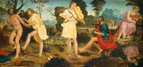A young person with long, dark blond hair, wearing a knee-length, pale yellow toga, stands playing a violin-like instrument at the center of this long, horizontal landscape painting, with a pair of people to the left and a pair of people to the right. Most of the people have pale skin, and two of the men have slightly darker, olive-toned complexions. The person at the center, Apollo, nearly spans the height of the painting. He tips his head back and to our right, towards the instrument on his shoulder, and he looks at or toward us with dark eyes, lips parted. With his other hand, he holds a bow to the instrument's strings. A dark green wreath of leaves encircles his head and a quiver of arrows are tied with a pine-green ribbon over his toga. His legs are bare and he wears sandals tied onto his feet. An archer's bow lays on the dirt ground behind his feet. To our right, a man with a swarthy complexion and a dark beard and hair, Marsyas, sits on a rock playing a bagpipe. He faces our left in profile, looking up at Apollo, and he wears a scarlet-red robe over a royal-blue tunic. Behind him and to our right, near the edge of the panel, a blond woman wearing a rose-pink dress also plays a bagpipe as she looks down onto her reflection in a pool below, in the lower right corner of the composition. Her left foot rests on a white and gold shield, and a golden helmet sits next to her other foot. Marsyas and Apollo appear as a pair to our left of the central person as well. Marsyas is now nude and tied to a tree, his body facing us, near the left edge of the panel. His mouth is open and he looks towards Apollo, who approaches from our right. Apollo grabs Marsyas's left wrist, on our right, and holds a knife to the nude man's upper arm. The set of bagpipes, the quiver of arrows, Marsyas's clothing, and Apollo's instrument are strewn on the ground around the men's feet. The scenes take place in a rocky landscape with dark green shrubs near us, along the bottom edge of the compos