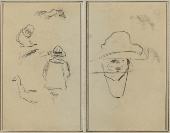 Two Breton Figures and Studies of Two Geese; Man Wearing Hat [verso]