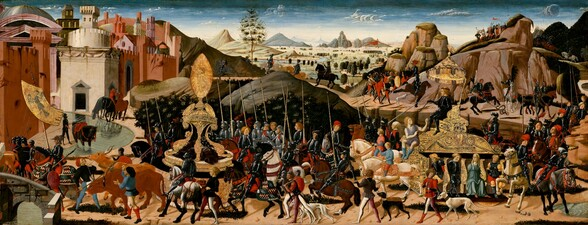 """Winding from our right to left, a procession of dozens of people, mostly men and many in black in gray armor on foot and horseback, weaves through rocky hills to the gates of a city of salmon-pink and cream-white buildings in this long, horizontal painting. The people seem to all have light skin, and are small in scale against the landscape. Throughout the procession, dogs nip at the heels of horses that walk, rear, or buck. Many of the armored men carry tall spears. The men not wearing armor mostly wear crimson-red robes over black stockings or short black tunics over stockings with one white leg and one mauve-pink leg. To our right, a man wearing black armor and a black wreath around his blond hair rides a gold throne on a large, gold base being pulled by two cream-white horses. A gold canopy hangs over his head. Facing our left in profile, he points a scepter down at a person sitting in front of him, lower down on the base. That person wears a simple, lilac-purple tunic and slouching, denim blue boots as he turns and looks up at the crowned man, hands raised. Three men and one woman sit in alcoves on the side of the base facing us with their hands behind their backs. The men wear black armor while the woman wears a muted, sea-green dress. The letters """"SPQR"""" are written in gold across the chest of a rider to our right. The procession in front of the throne passes around a tall golden structure like a fountain. At the top of that structure, a woman surrounded by gold rays to create an ellipse points toward the city. The soldiers at the front of the procession cross a short, arched bridge leading into the city, and one rider carries a gold banner with a stylized, splayed black bird. Towers and domes in shades of cream, coral, and pink peek above the crenelated city wall. To our right, the landscape beyond the procession is dotted with trees leading to rocky mountains in the deep distance. The horizon line comes four-fifths of the way up the composition. A few wispy """