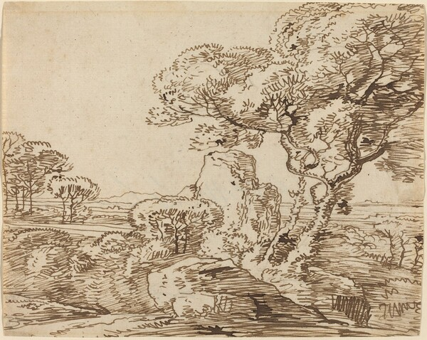 Landscape with Trees and Craggy Rocks