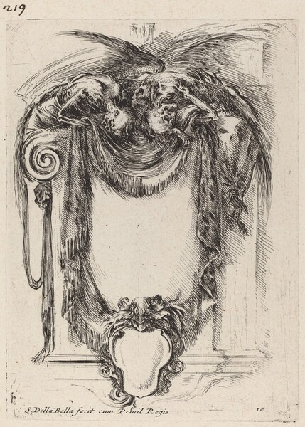 Cartouche Suspended from Corpses