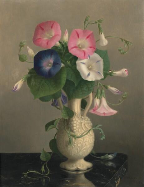 Vase of Morning Glories