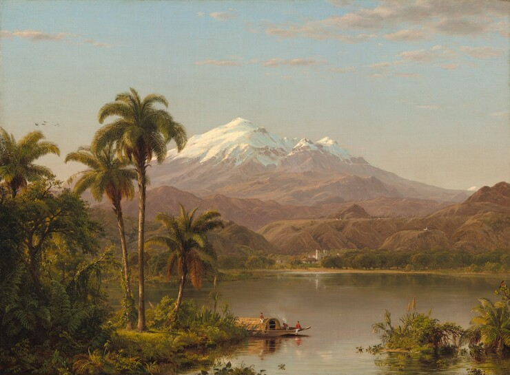 "We seem to hover over a palm-tree lined river winding into the distance before a monumental, snow-covered mountain at the center of the composition in this horizontal landscape. The spit of land along the riverbank in the lower left corner is filled with lush vegetation, including waving ferns, vines, leafy trees, and palm trees. At the bottom center of the composition, along the shoreline, a boat with a pointed prow is occupied by three people wearing white pants. Two of the men are bare-chested and the third wears a red shirt. The boat is covered with a rounded, hut-like structure and tendrils of white paint, perhaps indicating smoke from a fire, waft up in front of the opening to the structure. The placid river widens beyond the boat and across from us, the distant shore is lined with white buildings with brown thatched roofs and a white church with two spires and a red tile roof. Trees around and beyond the buildings fill in the space before brown, seemingly barren hills that eventually lead to the snowy peaks of the central mountain. The earthy moss and sage greens and tawny browns of the vegetation and river closer to us fades to pale caramel and almost mauve-tinted tan in the hazy distance. A few birds fly across the watery blue sky to our left, and wisps of light gray clouds float in from our right. The artist signed and dated the work with light green against dark green in the lower left corner: ""Church 1854."""