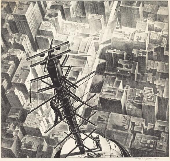 Men Atop Manhattan Skyscraper