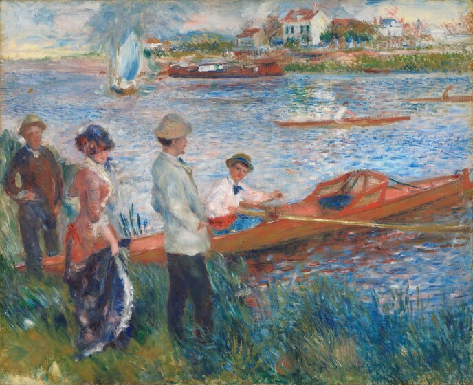 We seem to stand near a woman and two men on a grassy riverbank looking out at the expanse of the river that nearly fills this horizontal landscape painting. A fourth person sits in a long, narrow canoe that angles from the riverbank near the lower left corner to our right, and it extends off the right edge of the canvas. All of the people have pale, peach skin. The man closest to us, to our right of the trio, wears a white hat and jacket and dark pants as he gazes across the river with his hands in his jacket pockets. The other man and woman, to our left, look towards us. The woman wears a royal blue hat pulled low over her eyes. Her dress has a blue skirt and her petal pink corseted bodice is trimmed with white. The third standing person, along the left edge of the painting, wears blue and brown, and a straw brown hat. The man in the boat wears a white long-sleeved shirt with a blue cravat at his neck, a crimson cummerbund at his waist, blue pants, and a straw hat. He turns to look over his right shoulder towards us and he holds the end of a long oar in his right hand. The surface of the water is painted with short touches of vibrant blue paint. A sailboat, barge, and two other sculls float on the river between us and the opposite bank, which creates the horizon line three-quarters of the way up the composition. A few white houses and outbuildings line the water amid tall grasses on the opposite bank on the right half of the painting. The blue sky is painted with long strokes in blue and white to suggest movement in the clouds. The brushstrokes are loose throughout, and evoke a silky, feathery texture.