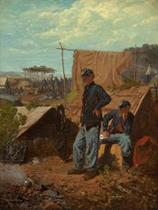 In a camp, two soldiers wearing blue uniforms are lost in thought as they listen to a military band playing music in the background in this vertical painting. Their uniforms consist of navy blue jackets, stone blue pants, and flat-topped, brimmed hats. Brass buttons line the open fronts of their jackets and a gold-colored emblem is affixed to the tops of their caps. One soldier, at the center of the painting, stands facing our left in profile with one hand on his hip. Another, to our right, sits in front of a tent, also looking towards our left. The seated soldier's knees are spread wide. One hand rests a few papers on his thigh, perhaps a letter, and he rests his chin in the other hand, also propped on his thigh. A low, triangular tent, about waist-high, is pitched to the left of the standing solider. The inside is dark but closer inspection reveals the bottom of one boot, presumably on a solider laying down inside. At the lower left of the painting, gray smoke drifts up from a pot on a campfire. A knapsack and a pewter plate holding waffle-like hardtack biscuits are laid near the tent. A few branches cover the dirt ground to our right. A tan cloth draped over an arbor-like structure of sticks forms a partition between the two soldiers and the rest of the camp, dividing the composition. Rows of tents extend into the distance. A band of soldiers plays music in the distance, their gold horn instruments pointing upwards toward the light blue sky. A row of tents is visible in the deep distance, perhaps across a body of water. The horizon line comes about two-thirds of the way up the composition, and the blue sky is filled with white, fluffy clouds.