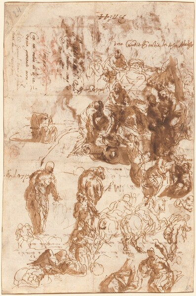 Studies for Judith and Holofernes, David and Goliath, The Finding of Moses, and Others [recto]