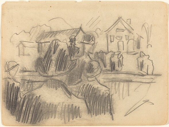 Group of Figures in Front of a House