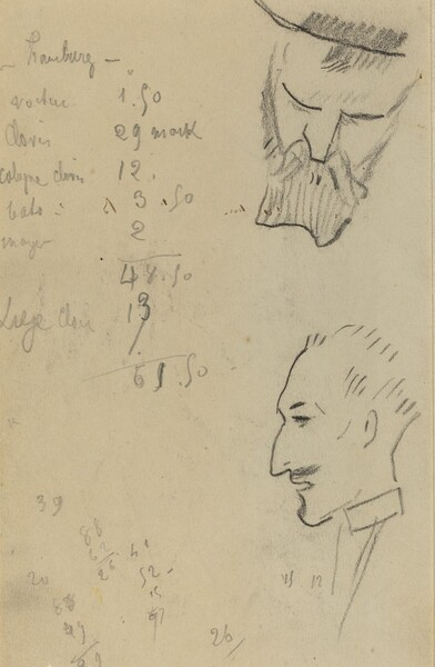 A Bearded Man and a Man in Profile [verso]
