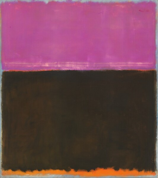 This abstract, vertical canvas is filled with a rectangular field of magenta across the top separated from a larger rectangle of black in the bottom two-thirds with a sliver of a flame-orange band, and a narrow band of pumpkin orange runs across the bottom of the composition. The fields of deep pink and black very nearly fill the canvas and appear thinly painted, which allows some colors to show through. For instance, the bottom of the magenta rectangle is streaked with cream-white, and the black field was painted over what had been a larger orange block, so the orange shows through, creating a soft, mottled appearance. The edges of the pink and black fields appear blurry, giving way to a pale, steel-blue edge around the perimeter of the canvas. The bottom edge of the black shape is particularly loosely painted, giving the orange band below a ruffled appearance.