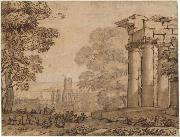 This horizontal landscape view showing ruins in a countryside is drawn on deep parchment-colored paper. The view is framed to the left by a tall leafy tree that reaches off the top edge of the paper and to the right by ruins made up of two columns beneath an entablature. A group of four people sit together in the middle distance at the lower center of the composition while eight animals, possibly goats, graze and rest nearby. The animals, people, ruins, and tree to the left are drawn with dark ink. More trees and buildings in the distance at the center is drawn with graphite, which is pale in comparison with the ink and gives the landscape beyond an atmospheric effect.