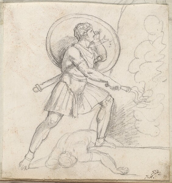 Warrior with a Shield and Torch