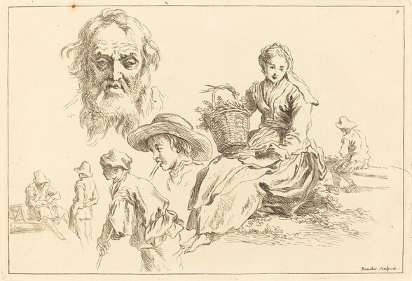 Figure Studies including Bearded Face of an Old Man