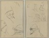 Three Studies of Men's Heads, One with Spectacles; Dogs, Children, and Two Bearded Men in Profile [verso]