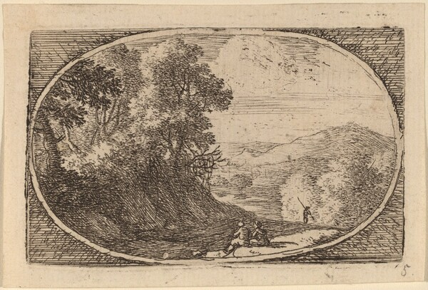 Two Figures Seated to the Right of a Road