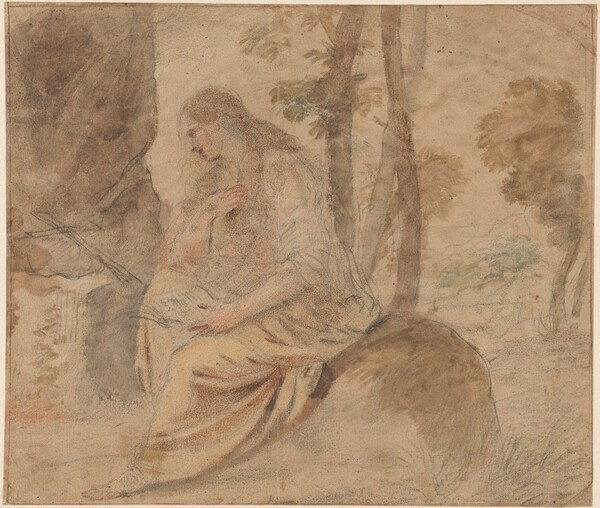 The Penitent Magdalene (recto) / Bearded Man and Studies for Rebecca and Eliezer (verso)