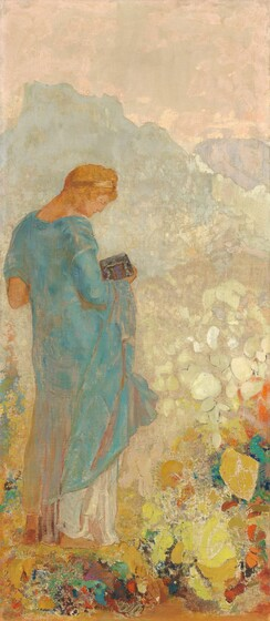 A pale-skinned young woman with copper-colored hair held under a gold headband, wearing a turquoise robe over a white, ankle-length skirt, stands in a pastel-colored landscape in this stylized, vertical painting. The woman fills most of the left half of the composition. She faces our right in profile with her head bowed as she looks down at the silver and brown box she holds in her right hand, closer to us. Her body angles away from us so we see her back. Behind her, rocky mountains in watery blue and pale lilac mountains span the horizon, which comes about three-quarters of the way up the painting, beneath a pale, rose-pink sky. An area of mottled parchment-white to our right of the person could be a field. Seeming closer to us, along the bottom edge of the canvas, rounded and organic shapes in scarlet-red, turquoise, lapis-blue, golden and lemon yellows, and pumpkin orange could be abstracted earth or flowers at the woman's feet.