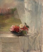A sunlit bowl of pale and deep pink flowers sits on a white curtain draped over the sill of an open window in this vertical still life painting. The sill comes about a third of the way up the composition and the open window and landscape beyond fills the top two-thirds. Shell pink and ruby red flowers with pine green leaves fill the shallow, slate-gray bowl. Sunshine highlights one white flower and one blush pink flower, perhaps roses. The white curtain falls over the right half of the window and pools on the sill before draping down and off the bottom edge of the composition. Sunlight dapples the curtain and the surface of the sill, and the paneling of the wall below the window is white. A tawny brown path winds through a pale green lawn and around an ivory-colored house in the landscape seen through the window. The sky turns from silvery blue above to light mauve around trees lining the horizon in the distance.