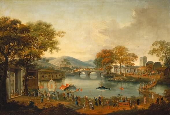 Procession by a Lake