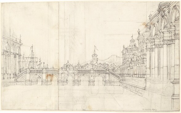 A Capriccio of Palaces and a Loggia Facing a Classical Bridge