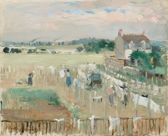 """We look down onto a landscape where several laundry lines have been draped mostly with white sheets or cloth to dry in a flat, grassy yard in front of a rustic house and a distant town in this horizontal painting. The work is created entirely with thick, visible brushstrokes that both creates a sense of texture on the canvas's surface and makes many details difficult to make out. The impact is that we might feel we need to squint to eventually find the forms of at least three women wearing skirts hanging laundry out and a person wearing trousers tending to a flat piece of green ground near the lower left corner, perhaps a garden plot. A few pieces of white cloth have been draped over the wooden fence that runs along the bottom edge of the canvas. A dove-gray cart with wooden carriage wheels rests, tipped forward, at the center of the laundry lines. To our right and just beyond the laundry lines, a two-story ivory and slate-gray house with a brownish-red peaked roof sits behind a grove of pine-colored trees. The laundry field and the grassy plane beyond is painted with a pale celery green with long, horizontal strokes. A line of moss green trees and a streak of white interrupts the field in the distance. Beyond that, touches of steel and silvery-gray paint suggest smokestacks and smoke in a town along the horizon, which comes about three-quarters of the way up this composition. The sky above is filled with light rose-pink clouds floating across a robin's-egg blue sky. The artist signed the work in brick-red paint in the lower left corner, """"Berthe Morisot."""""""
