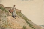A young woman with light skin carries a large basket propped on her hip down a steep dune in this horizontal watercolor, which is painted mostly in light slate blue, sage green, tan, and ivory. She stands near the top of the hill, to our left. Her reddish-brown hair is pulled back to the nape of her neck. She wears a long, steel-blue dress with the sleeves rolled up to her elbows and black clog-like shoes. The hill she stands on angles steeply down from almost the top left corner of the paper to just inside the lower right corner, and it is dotted with scrubby green grasses on sand-colored ground. The horizon line is very low, nearly along the bottom edge of the composition. In the deep distance, beyond the dune in the lower right corner, a small patch of blue water with a single sailboat is visible. The bright, hazy sky is nearly white.